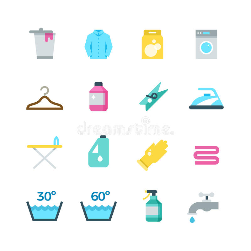 Household washing, drying and laundry vector flat icons stock illustration