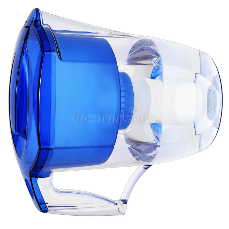 Household water filter. Jug in the form of a filter element for cleaning the inside of potable water stock photography