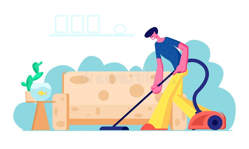 Householder Vacuuming Home with Vacuum Cleaner in Living Room. Young Man Doing Domestic Work, Cleaning Floor Carpet vector illustration