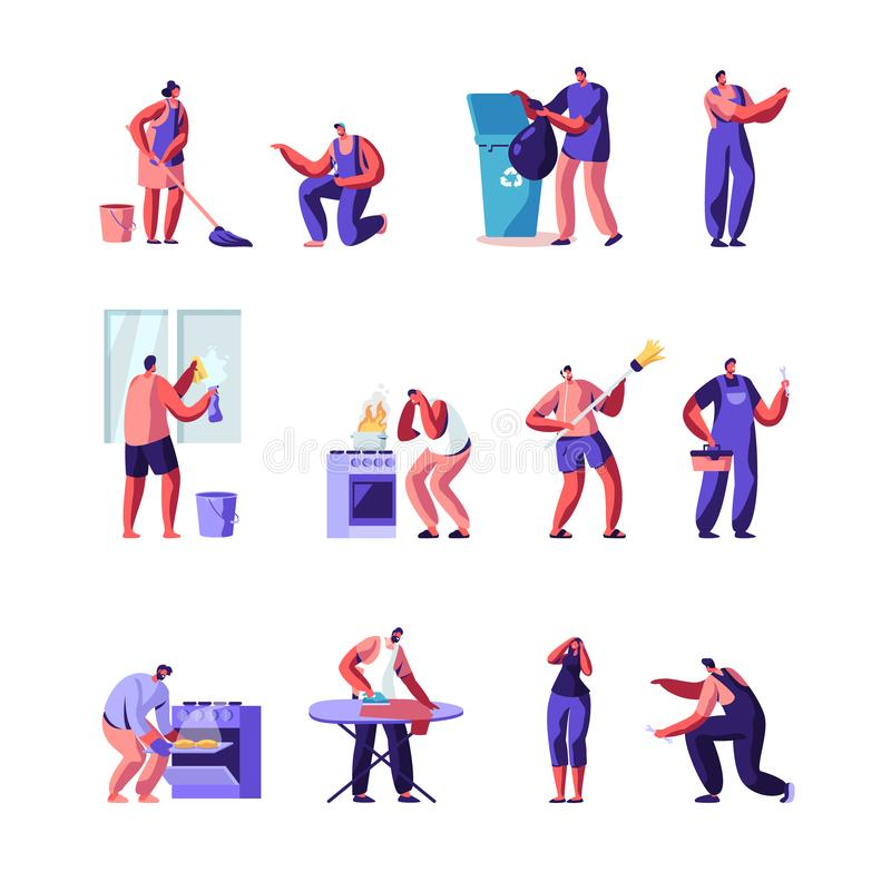 Free Householders Characters Cleaning Home , Repair Masters Set. People Everyday Routine, Specialists Fixing Technics Service Stock Photography - 152397362