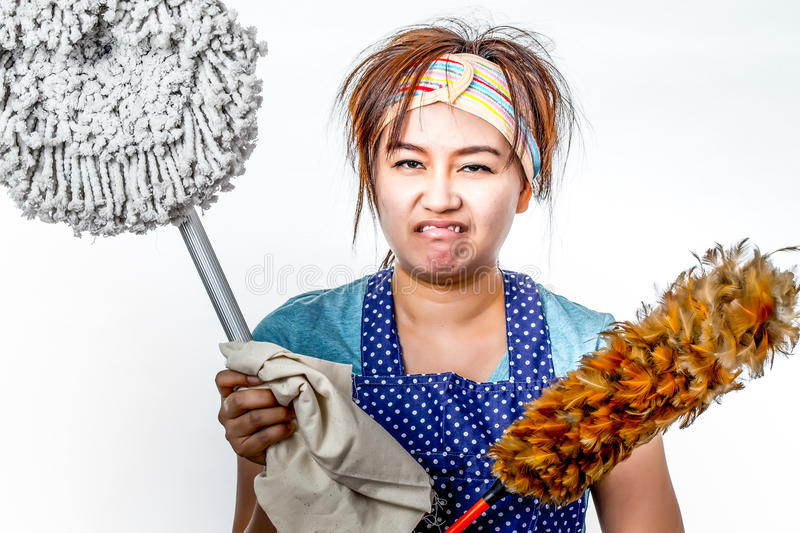Housekeeper. Asian housekeeper shooting in studio stock photography