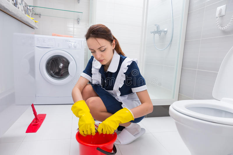 Download Housekeeper Cleaning A Bathroom Floor Stock Image   Image Of  Household, Cleanliness: 69401503