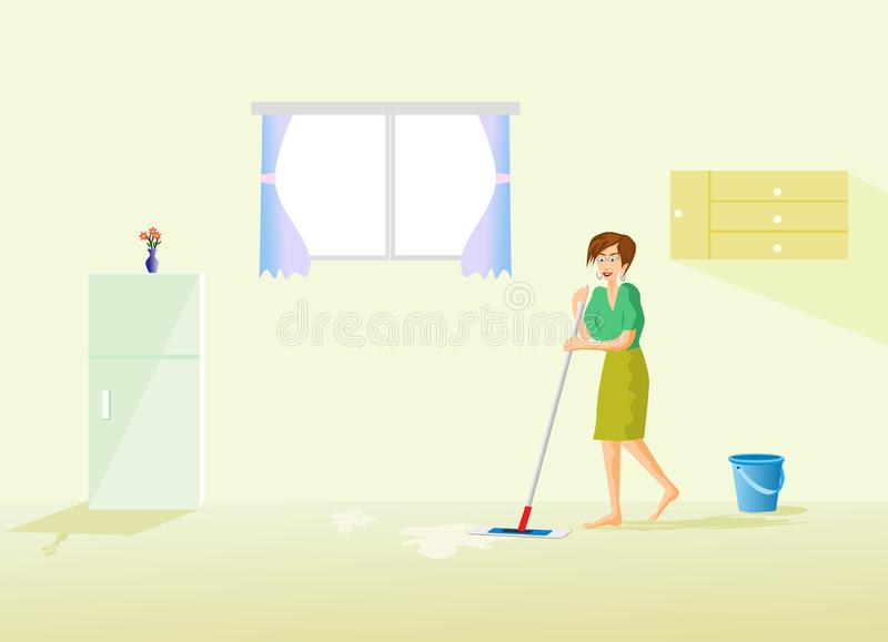 housekeeper is cleaning the floor in the house with a refrigerator and window as the background stock images