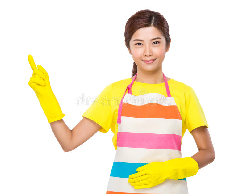 Housekeeper with finger up. Isolated on white background stock image