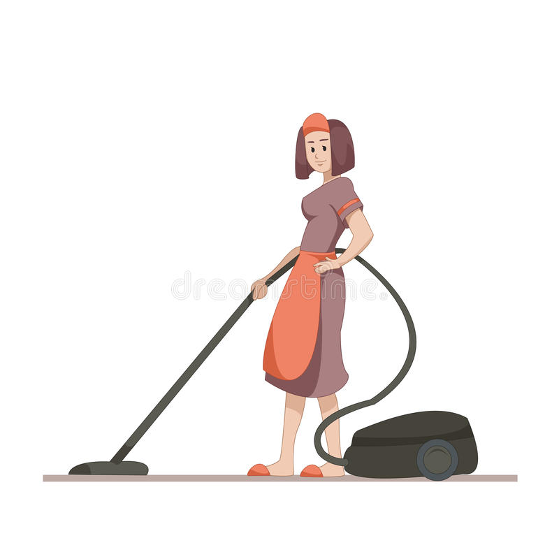 Housekeeper or housewife makes home cleaning with a vacuum cleaner. Flat character isolated on white background. Vector stock illustration