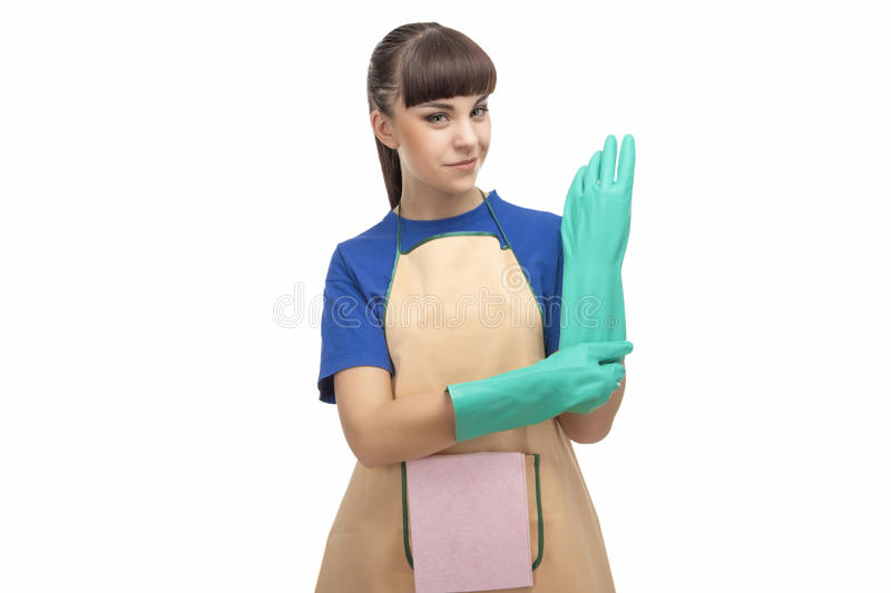 Housekeeping Concept: Caucasian Housemaid Prior to Cleaning stock photo