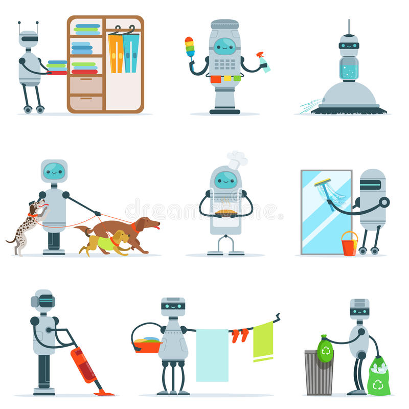 Housekeeping Household Robot Doing Home Cleanup And Other Duties Set Of Futuristic Illustration With Servant Android. Future Technology And Robotic House royalty free illustration