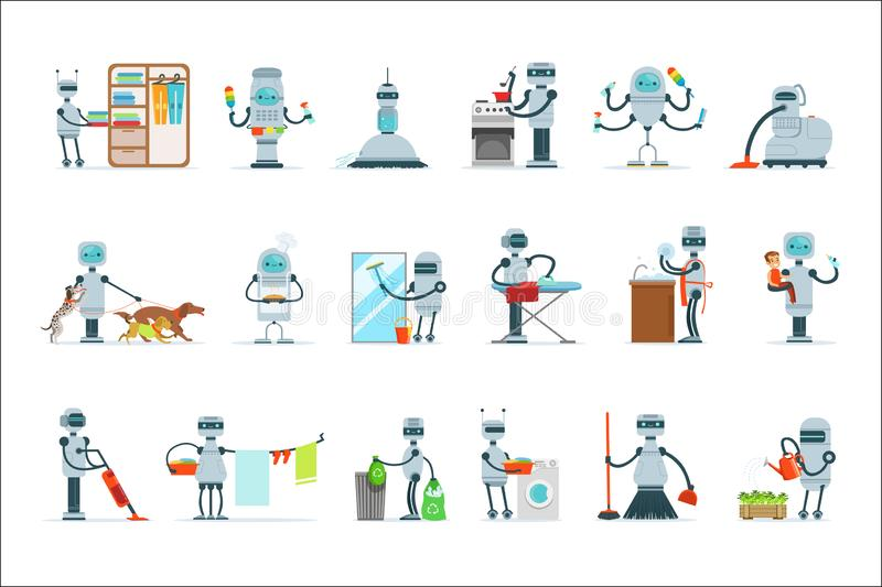 Housekeeping Household Robot Doing Home Cleanup And Other Duties Set Of Futuristic Illustration With Servant Android. Future Technology And Robotic House stock illustration