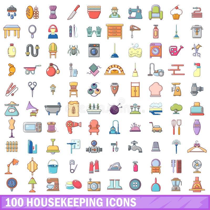 100 housekeeping ikon ustawiających, kreskówka styl royalty ilustracja