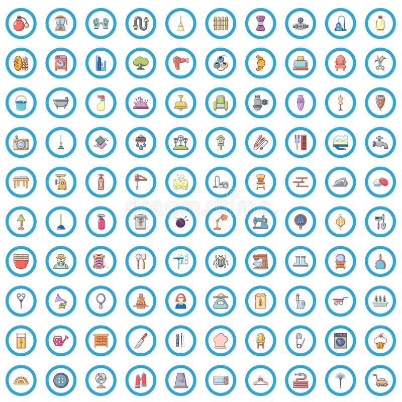 100 housekeeping ikon ustawiających, kreskówka styl ilustracja wektor
