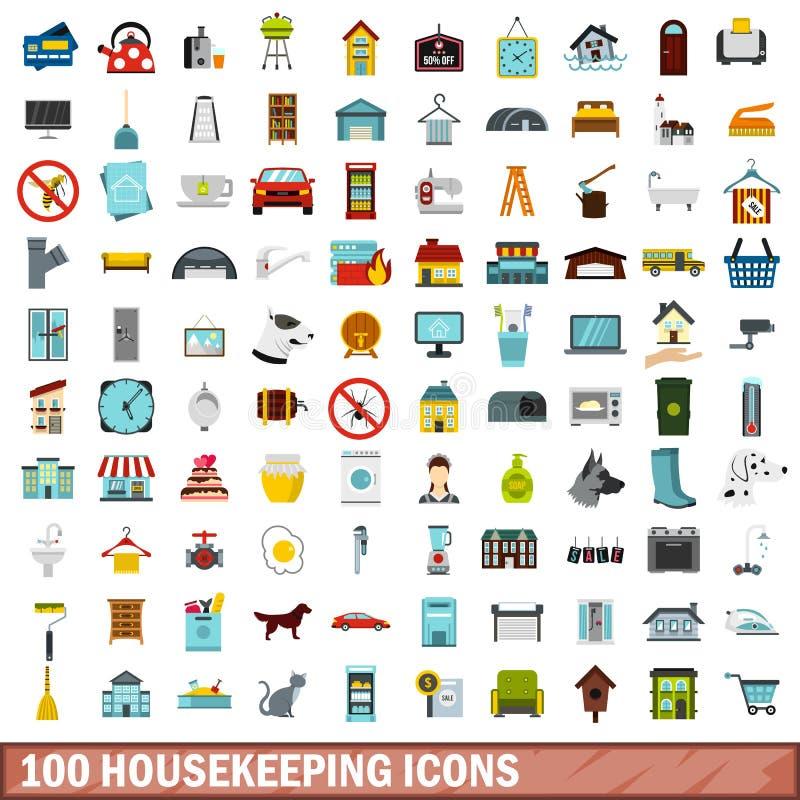 100 housekeeping ikon ustawiających, mieszkanie styl royalty ilustracja