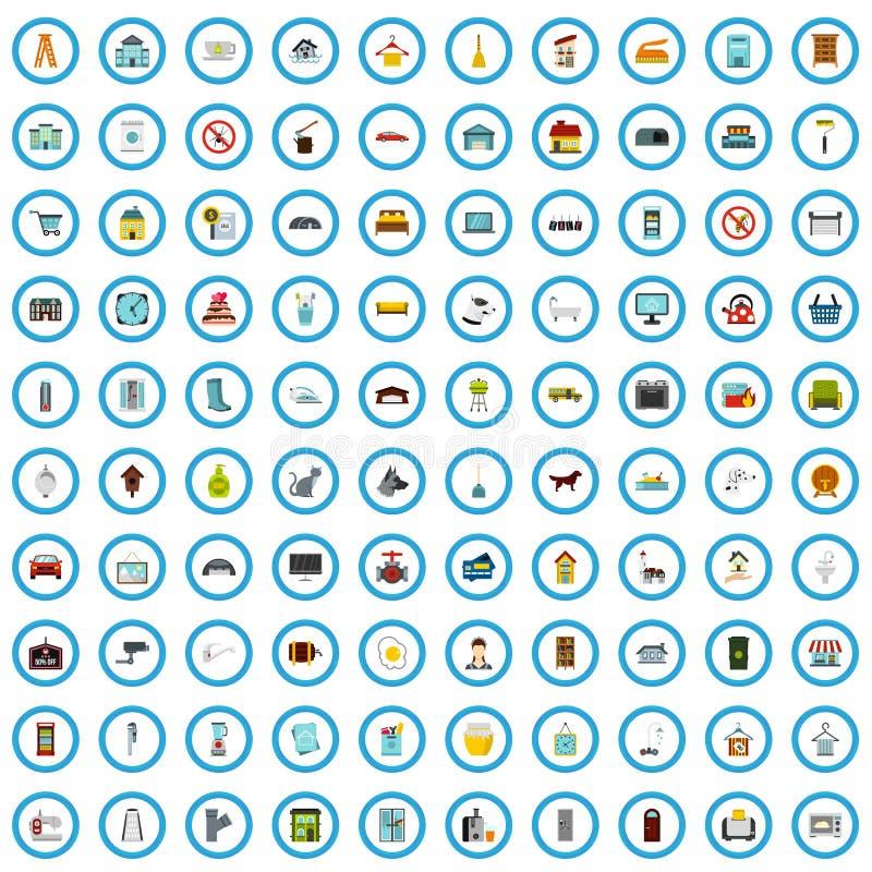 100 housekeeping ikon ustawiających, mieszkanie styl ilustracja wektor