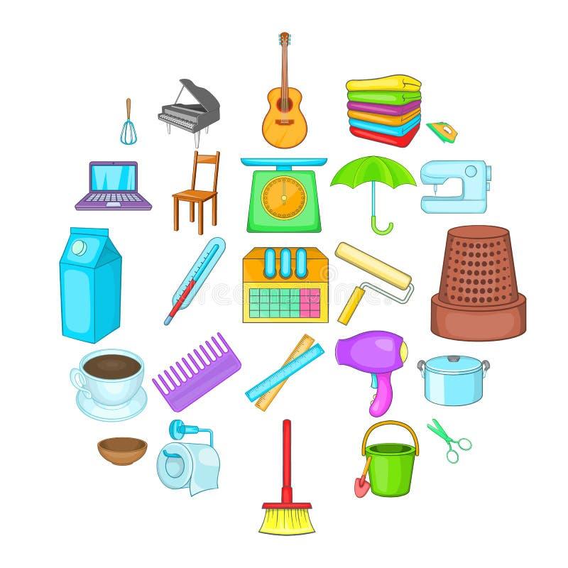 Housekeeping ikony ustawiać, kreskówka styl ilustracja wektor