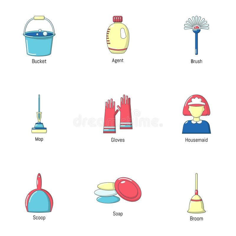 Housekeeping ikony ustawiać, kreskówka styl ilustracji