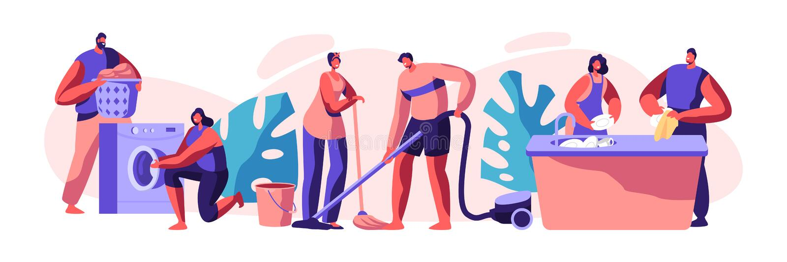 Housekeeping and Routine. Scrubwoman and Man Cleaning Dirty Clothes, Floor. Chores Domestic, Working with Electronic Machine. Technology Cleanliness. Flat stock illustration