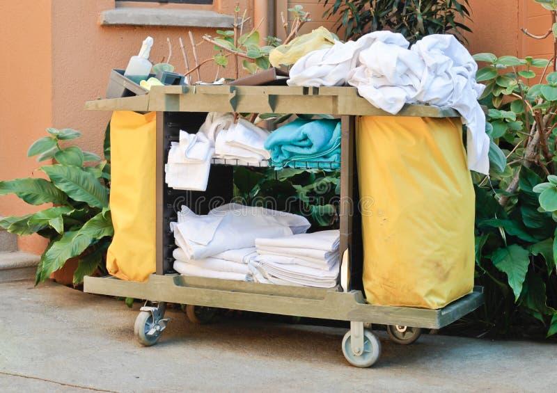 Housekeeping trolley. A housekeeping trolley at a tropical resort stock photography