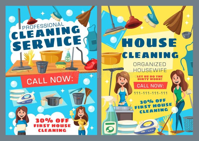 Housekeeping usługa, gospodarstwa domowego domycie, czyści royalty ilustracja