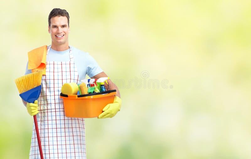 Housekeeping usługa mężczyzna zdjęcie stock