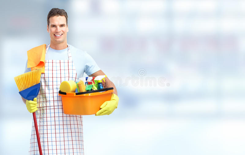 Housekeeping usługa mężczyzna obraz stock