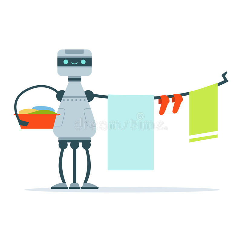 Housemaid android character hanging out laundry clothes vector Illustration vector illustration