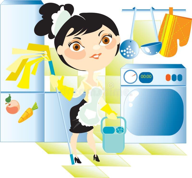 Housemaid washes floor on kitchen vector illustration