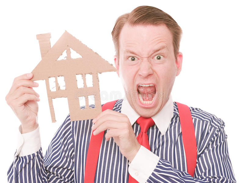 Houseowner frustrant d'affaires images stock
