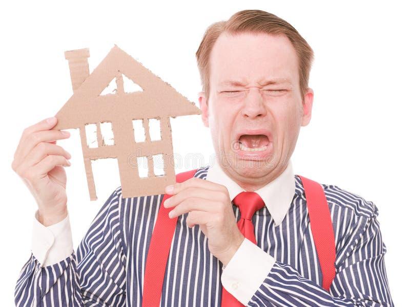 Houseowner pleurant d'affaires images stock
