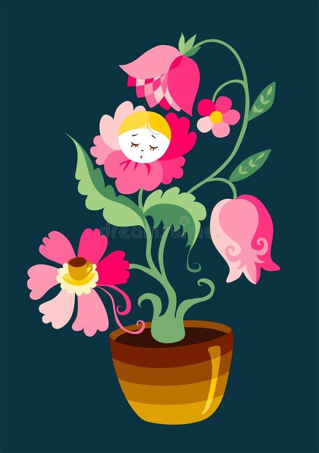 Houseplant bonito ilustração stock