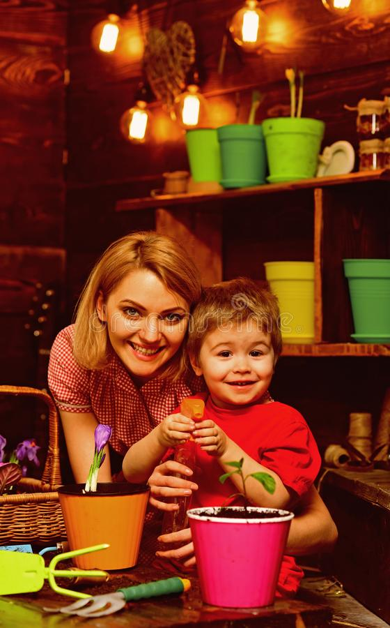 Houseplant concept. Child and mother spraying houseplant with water. Little son help mother with houseplant. Houseplant. Care stock photos