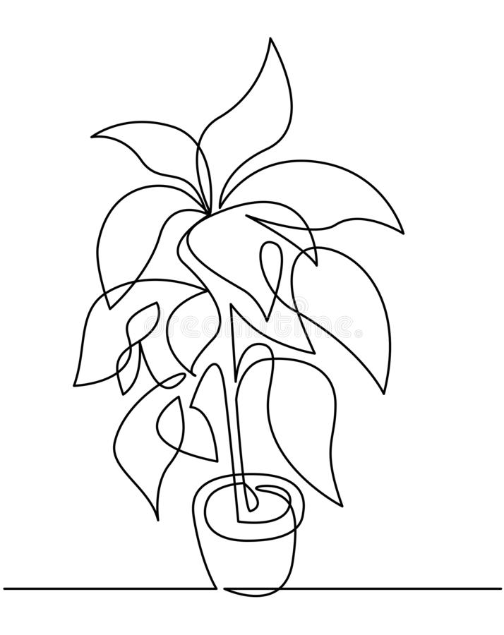 Houseplant en l?nea continua dibujo del pote la una del vector Silueta floral exhausta de la mano stock de ilustración