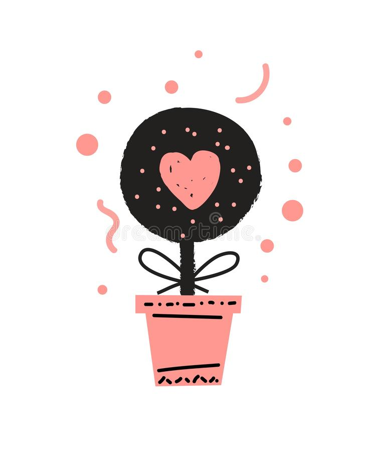 Houseplant in a pot cute vector illustration in cartoon style stock illustration