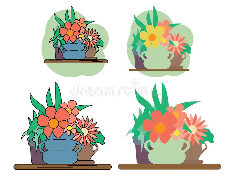 Houseplant set design flat concept. Plant pot isolated, indoor plants, flower and green nature, leaf and pot set. Gardening growth vector illustration