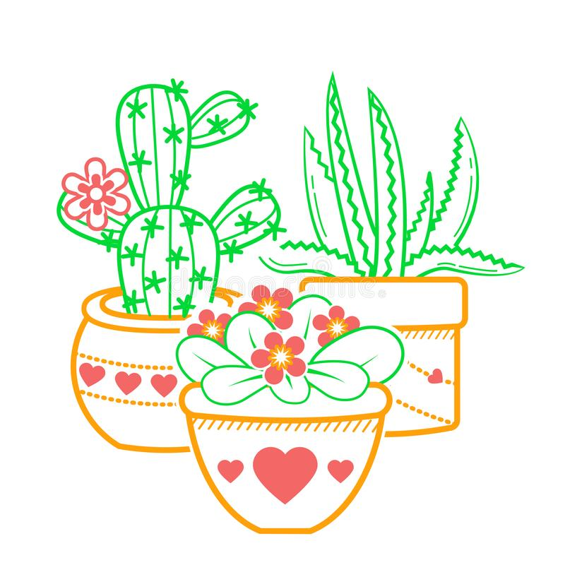 Houseplantillustrationsymbol royaltyfri illustrationer