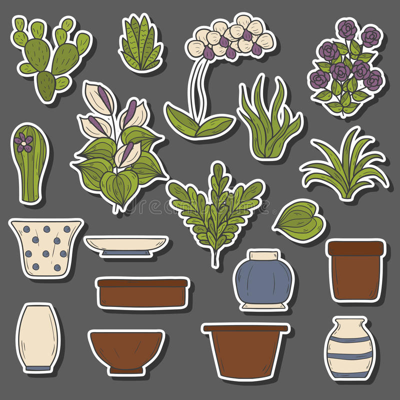 Houseplantstecknad filmklistermärkear stock illustrationer