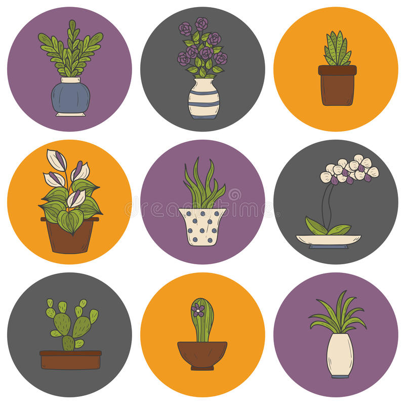 Houseplantstecknad filmsymboler stock illustrationer