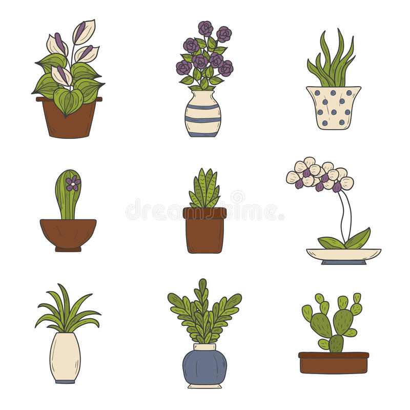 Houseplantstecknad filmsymboler royaltyfri illustrationer