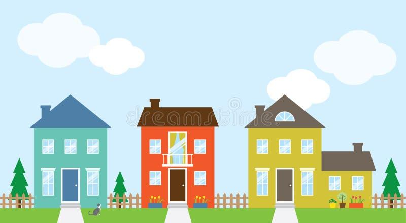 Houses. Illustration of beautiful houses in the neighborhood