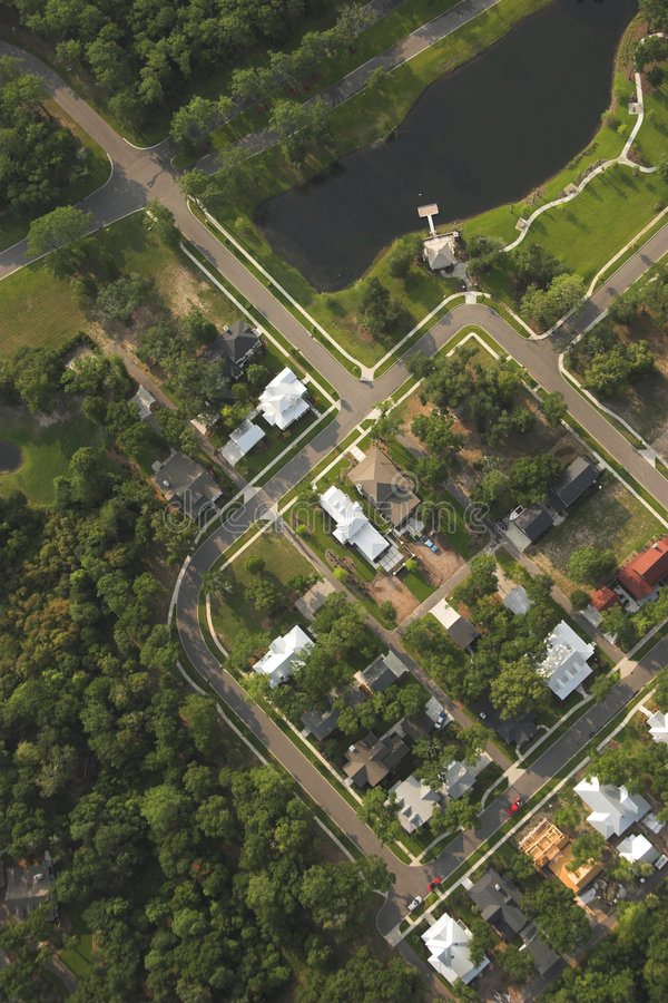 Houses, aerial view royalty free stock images