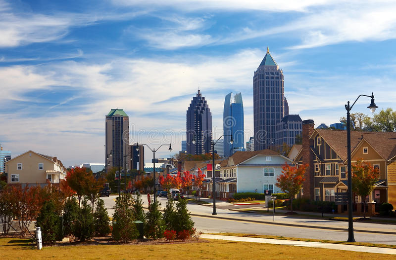 Download Houses Against The Midtown. Atlanta, GA. USA. Stock Photo - Image of architecture, downtown: 17089218
