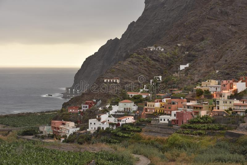 Houses and agricultural fields La Gomera Spain stock image