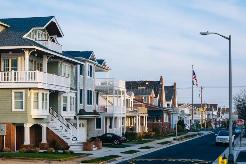 Houses along Cambridge Avenue in Ventnor City, New Jersey.  stock images