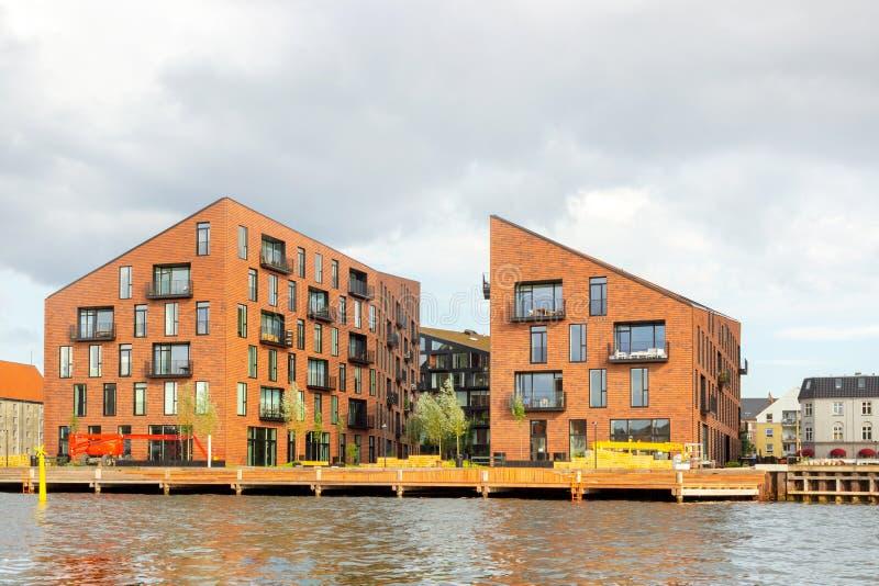Houses along the canal in Copenhagen, Denmark stock image