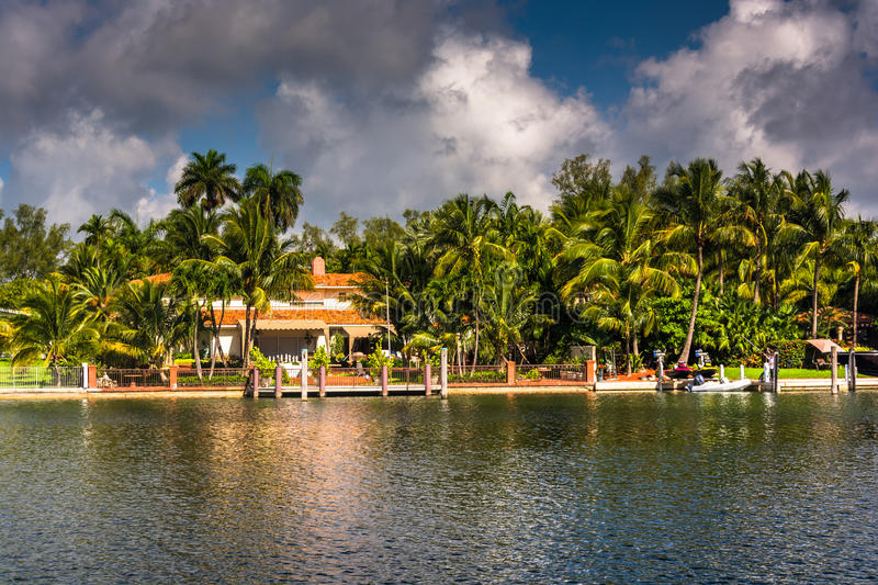 Houses along Collins Canal, in Miami Beach, Florida. royalty free stock image