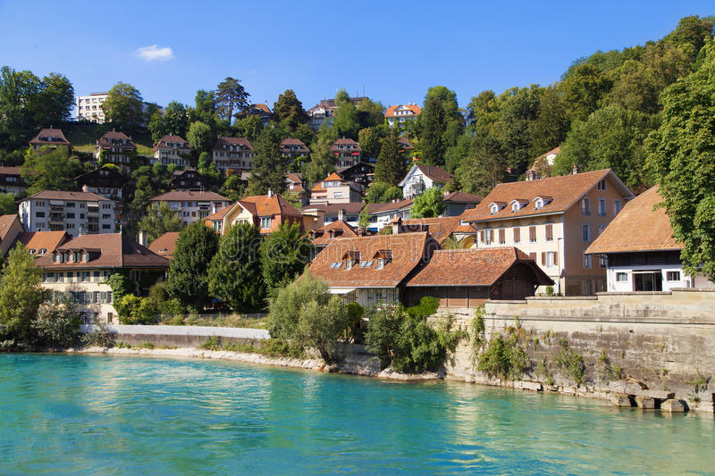 Houses along the river Aare in Bern. Switzerland royalty free stock images