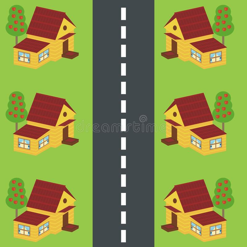 Download Houses along the road stock vector. Image of apple, cottege - 15810157