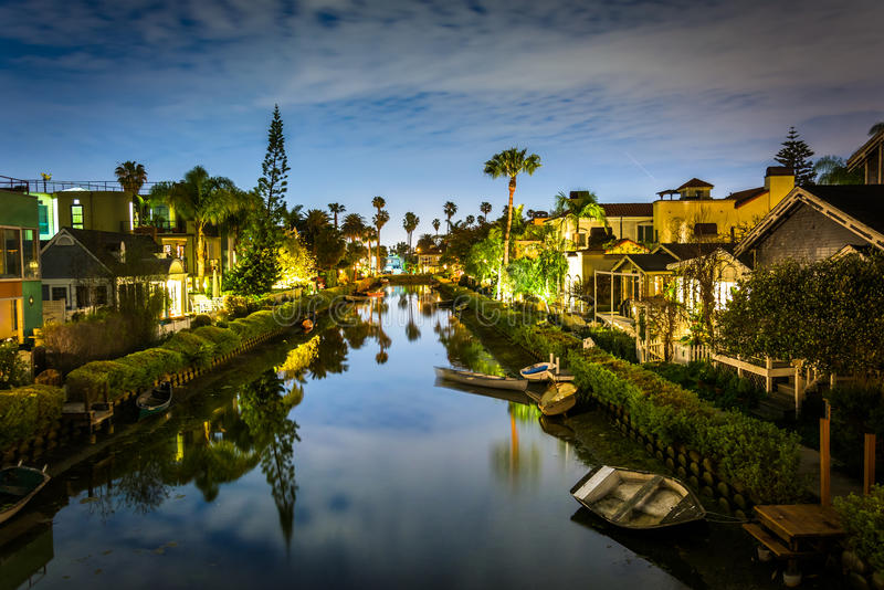 Houses along the Venice Canals at night royalty free stock photos