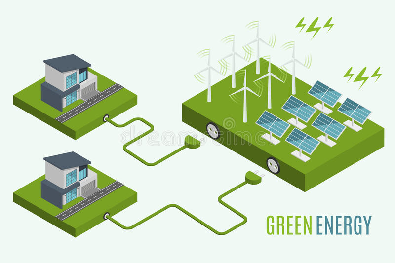 Houses with alternative Eco Green Energy, flat 3d web isometric infographic concept. stock illustration
