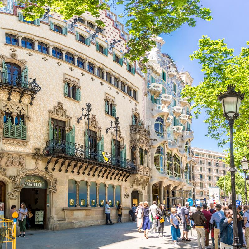 Houses Amatller and Batllo in the streets of Barcelona in Spain. BARCELONA,SPAIN - MAY 20,2019 - Houses Amatller and Batllo in the streets of Barcelona stock photography