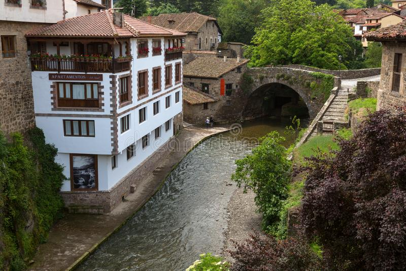 Houses in the ancient Spanish town. Northern Spain, Cantabria royalty free stock images