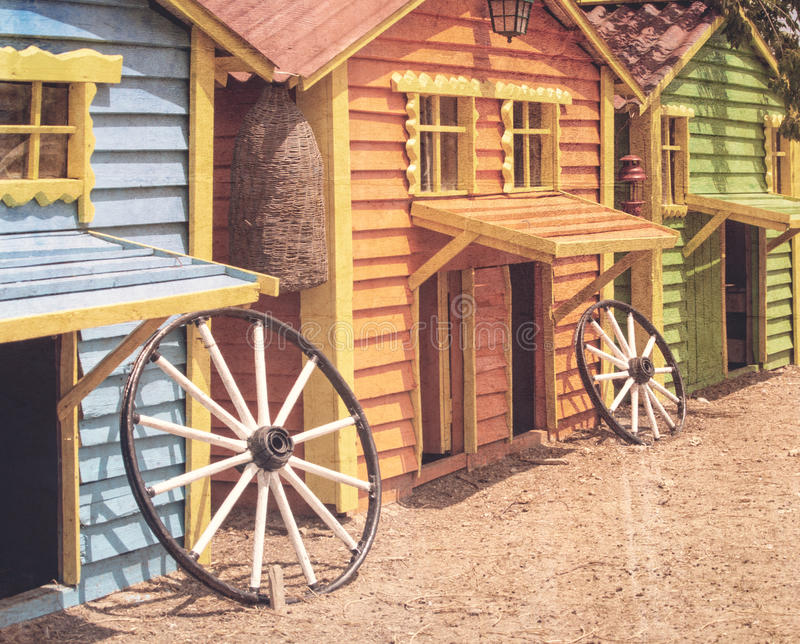 Houses for the animals on the farm, retro color style royalty free stock photo